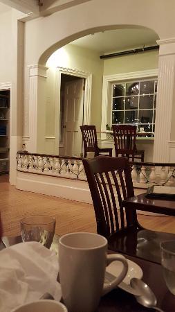 Damariscotta, ME: Interior seating - nook for 2 overlooks the harbor.