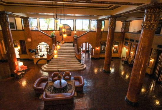 Douglas, AZ: Beautiful ornate pillars and staircase of historic Hotel Gadsden