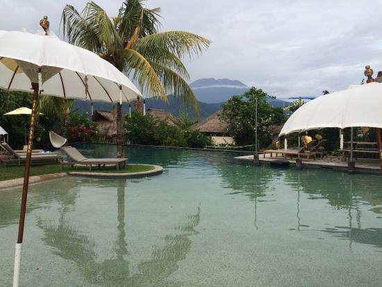 Padangbai, Indonezja: The view of the volcano from the pool, excellent restaurant and our room with vie s of the Bali