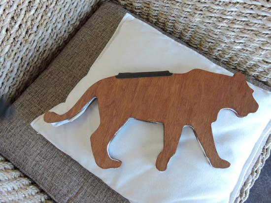 Northern Cape, África do Sul: Interesting guestbook, handmade paper and bound with wooden covers, shaped like leopard/lion.