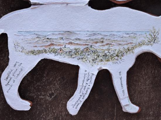 Northern Cape, Sudafrica: Paper really soaks up colour - a quick sketch of the view with sea on horizon.