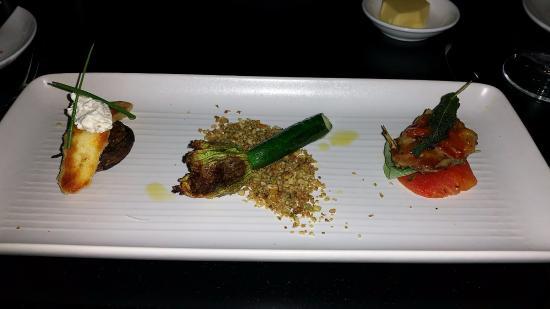 South Perth, Αυστραλία: Three pieces - Quail Saltimbocca, succhini flower & Halloumi