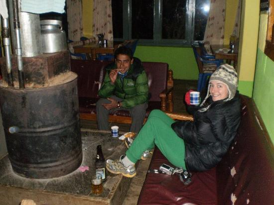 Kathmandu Valley, Nepal: Enjoying another lemon tea. My friend opted for Everest beer!
