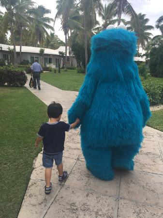 Beaches Turks and Caicos Resort Villages and Spa: Cookie Monster walking my son to Camp Sesame