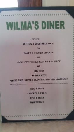 Nevis: our lunch menu