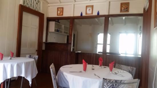Nevis: first room of the restaurant in this traditional building