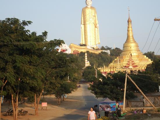 Laykyun Sekkya giant standing Buddha Monywa a kilometre away as viewed from Khatakan Taung villa