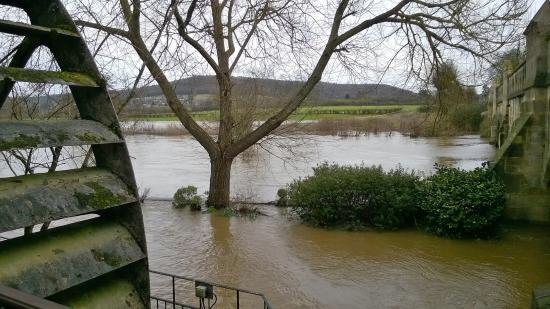 Batheaston, UK : View from the restaurant - water level very high - garden furniture submerged