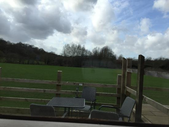 Hyde, UK: Outside Seating, overlooking the field and wooded area.