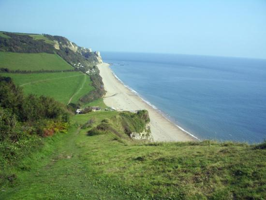 Heading east into Branscombe on the coast path.
