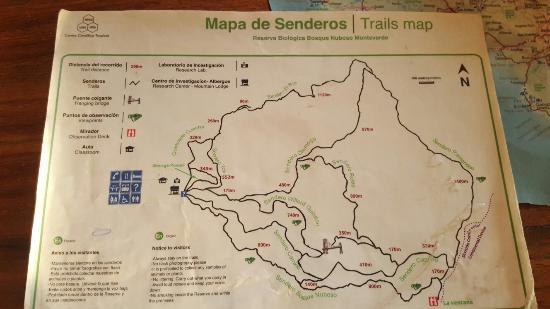 Monteverde Cloud Forest Reserve, Kostaryka: Mapa de senderos