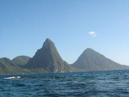 Gros Islet, St. Lucia: Pitons from the water taxi