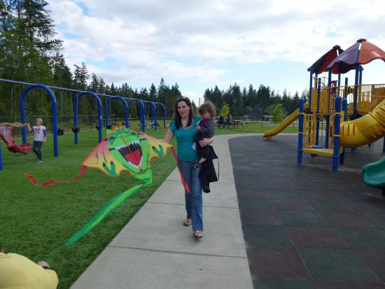 Gig Harbor, WA: My daughter and granddaughter at the playground, flying kites.