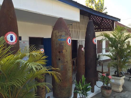 UXO Laos Visitor Center: UXO center: large bombs