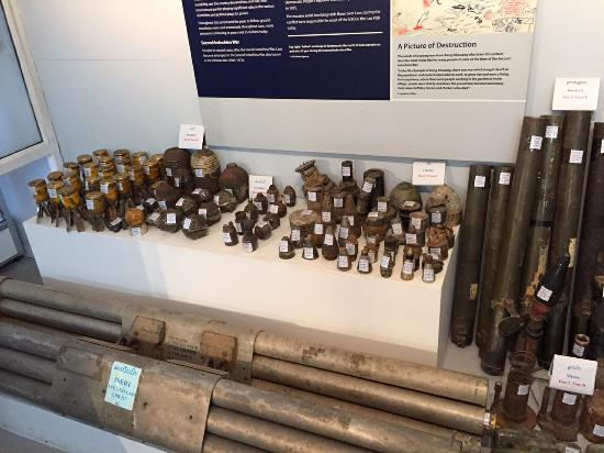 UXO Laos Visitor Center: small bombs: especially dangerous for children