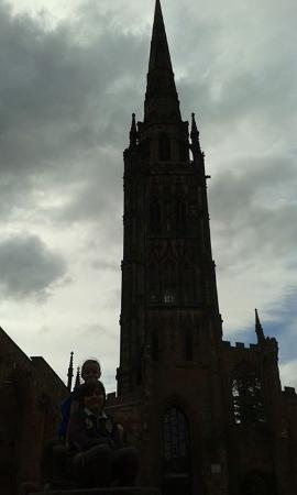Coventry, UK: Tower of the old cathedral ruins.