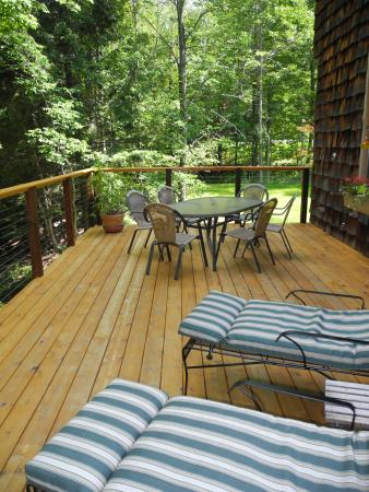 Warren, VT: Large deck overlooking Mad River