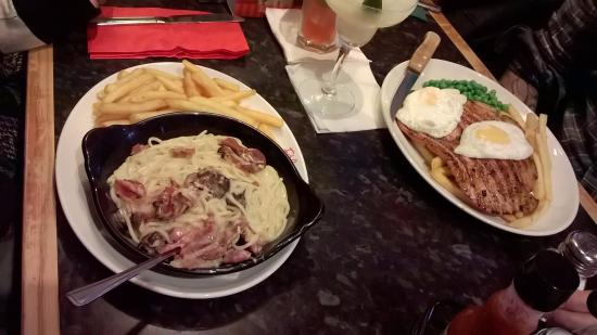 Frankie and Benny's: Carbonara and gammon steak main meals