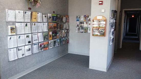 The interior of The Tomah Chamber & Visitors Center showing the various publications offered the