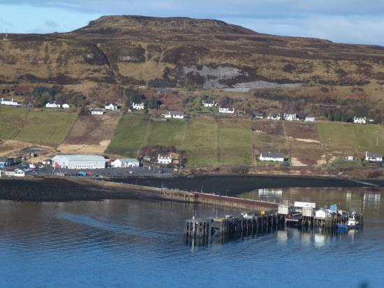 Uig Pottery: the pottery is the white building far left, the bigger grey building is the ferry terminal