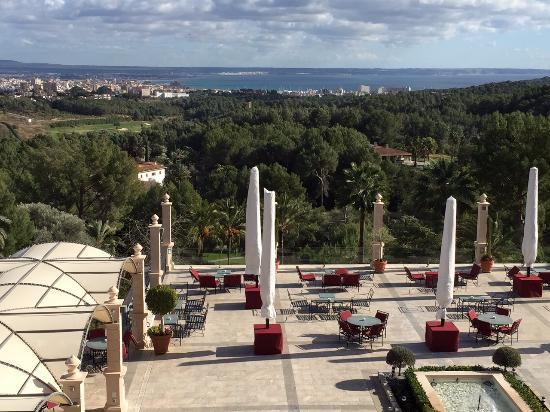 Castillo Hotel Son Vida, a Luxury Collection Hotel: The terrace overlooking the Bay of Palma