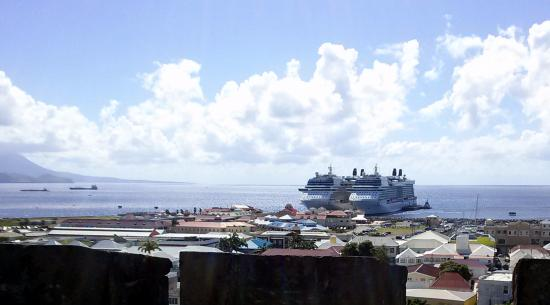 St. George's Anglican Church: Looking to the cruise port from top of the tower