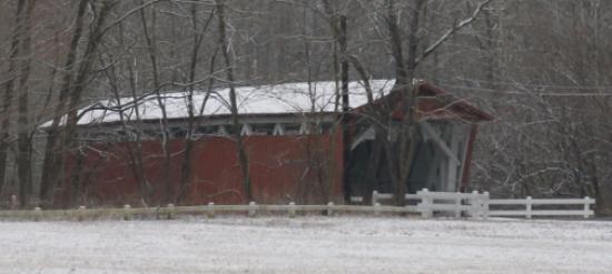 Peninsula, OH: Covered bridge in winter