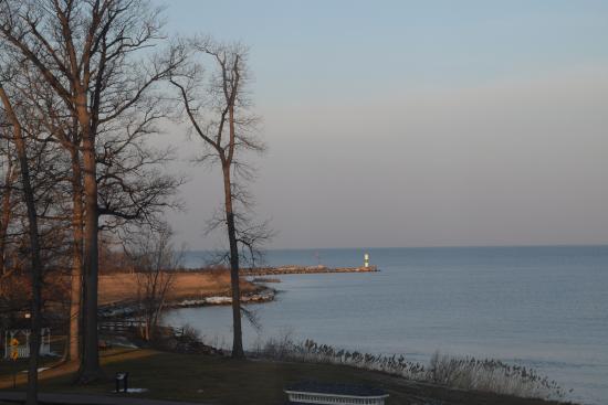 The Lodge at Geneva-on-the-Lake: Sunrise over the lighthouse and marina.
