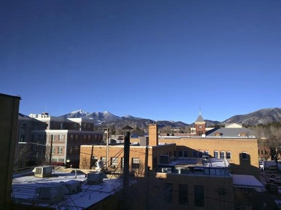 Hotel Monte Vista: View of the San Francisco Peaks from my hotel room.