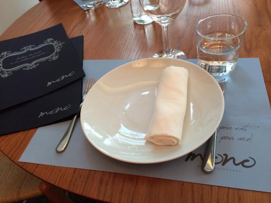 Mono Restaurant : the menu