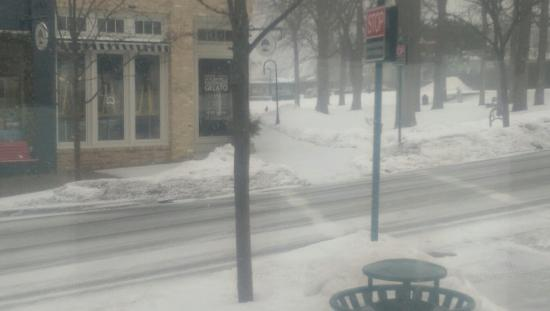North Perk Coffee: Great place to drink coffee and watch it snow