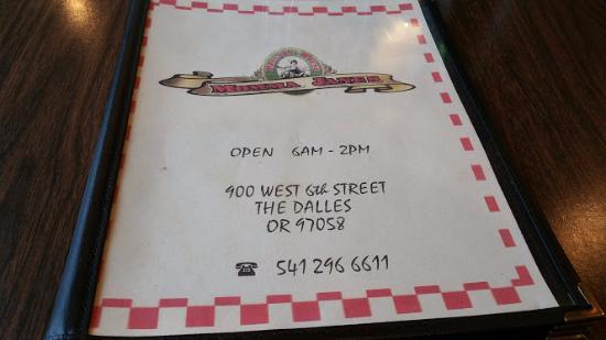 The Dalles, Орегон: Menu Front