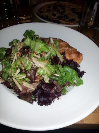 Rockville, MD: Entree salad with salmon added. Very, very, very salty salmon!