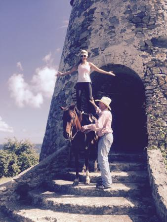 "Frederiksted, Сен-Круа: Cowboy Stephen and me on gingerly ""Standing on my horse"""
