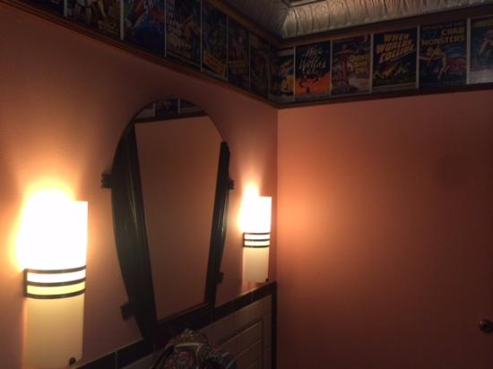 Lost City Diner: the ladies room was pretty cute- pink walls with comic cover wallpaper