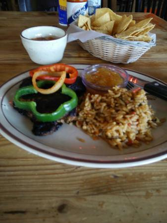 Burlington, MA: Blackened chicken with rice and beans.
