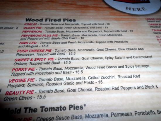 Collingwood, Kanada: Menu's are printed on the tables