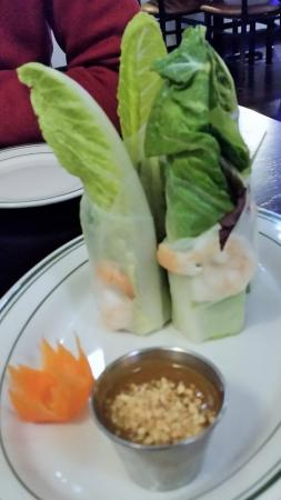 Latham, NY: Fresh Salad Roll with warm peanut sauce.