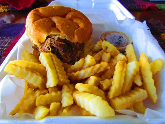 Winder, GA: Pork Sandwich Basket to-go order with Sweet and Spicy Sauce. Mmmmmmm...