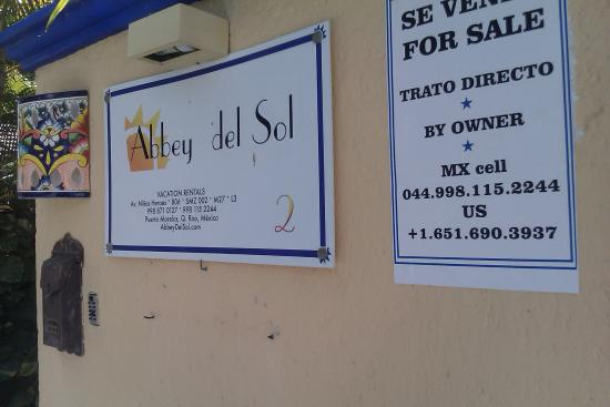 abbey del sol pto morelos hotel plaque outside wall by main door picture of abbey del sol. Black Bedroom Furniture Sets. Home Design Ideas
