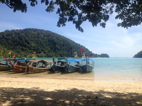 คุระบุรี, ไทย: Longtail boats shuttle you to the shore of Mai Ngam Beach.