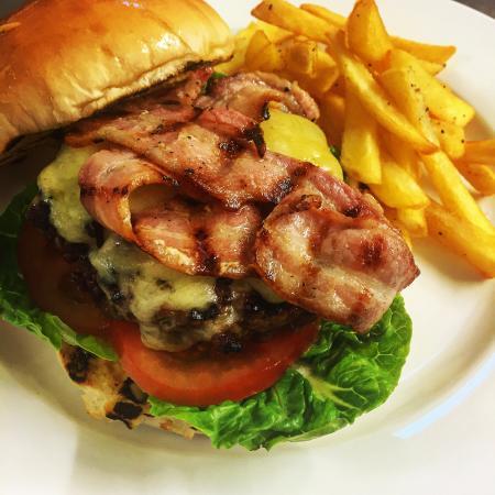 Fowey, UK: The Kernow Burger with handcut skinny fries