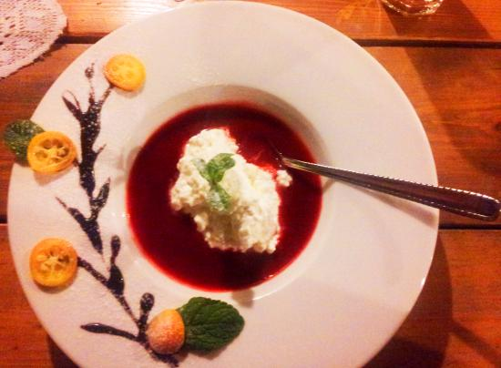 ‪‪Ventspils‬, لاتفيا: strawberry soup with cheese dessert‬