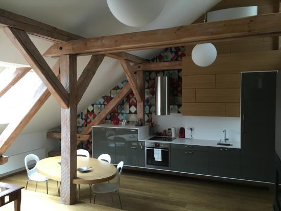 Malostranska Residence: Kitchen/Dining area of Penthouse