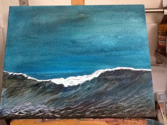 Hotel Solymar: Javea sea at dusk. My painting