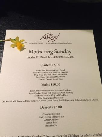 The Angel: Mother's Day menu