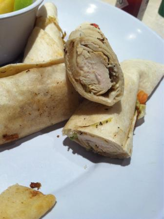 Alpharetta, GA: I don't think I ordered chicken wrapped in a tortilla.