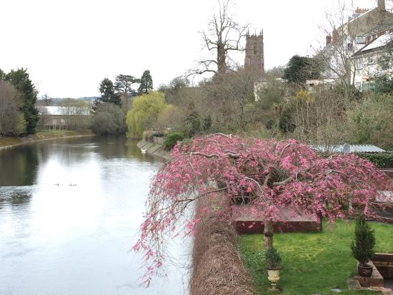 Tiverton, UK: View from the bridge of the River Exe.