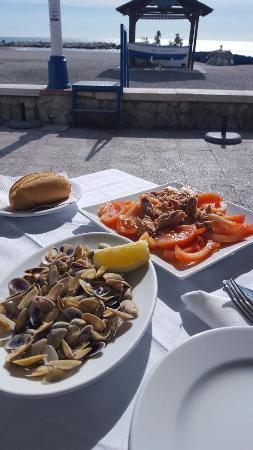 El Caleno: Coquinas y tomate con Atún