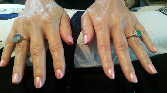 Dunmore Town, Harbour Island: The most beautiful hands Ive ever seen.  Spa Mani *Essie Pink Diamond*